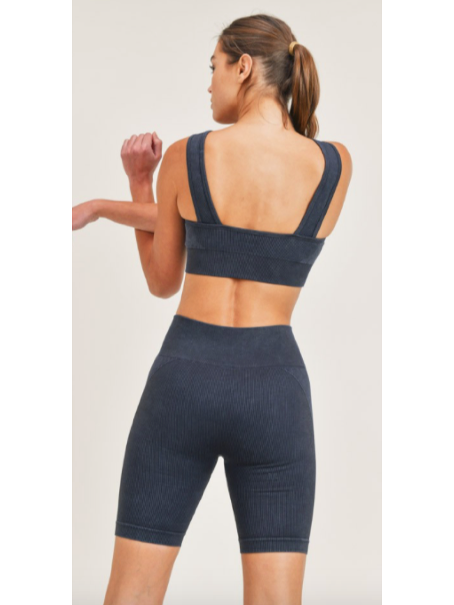 Essential Mineral-Washed Ribbed Sports Bra AT3034