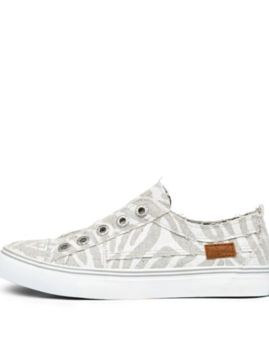 Blowfish Washed Linen PLAY Shoes Off White Zebra