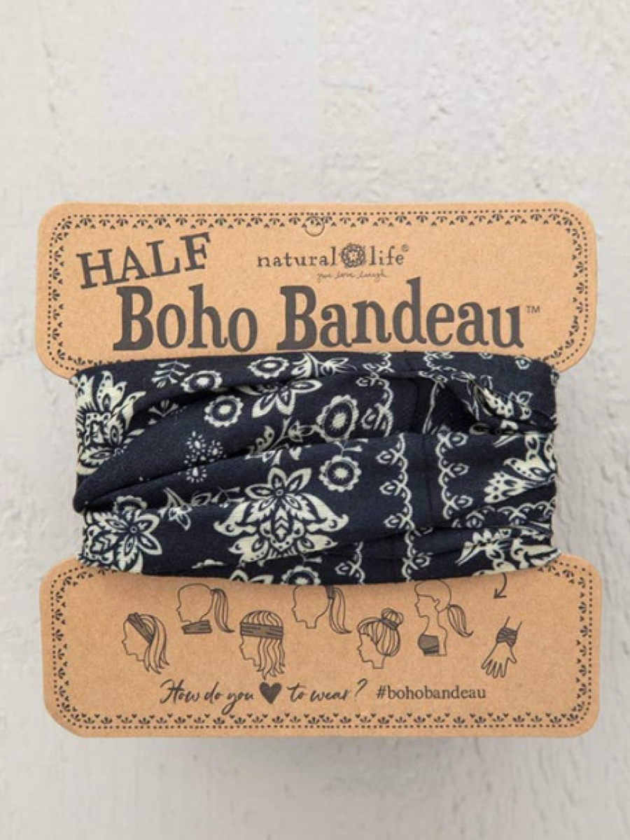 Natural Life Half Boho Bandeau Black W/Cream Floral