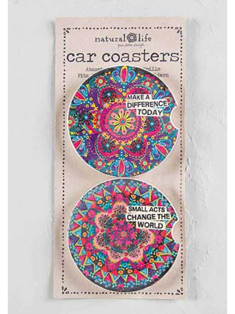 Natural Life Car Coaster Set of 2 Make A Difference