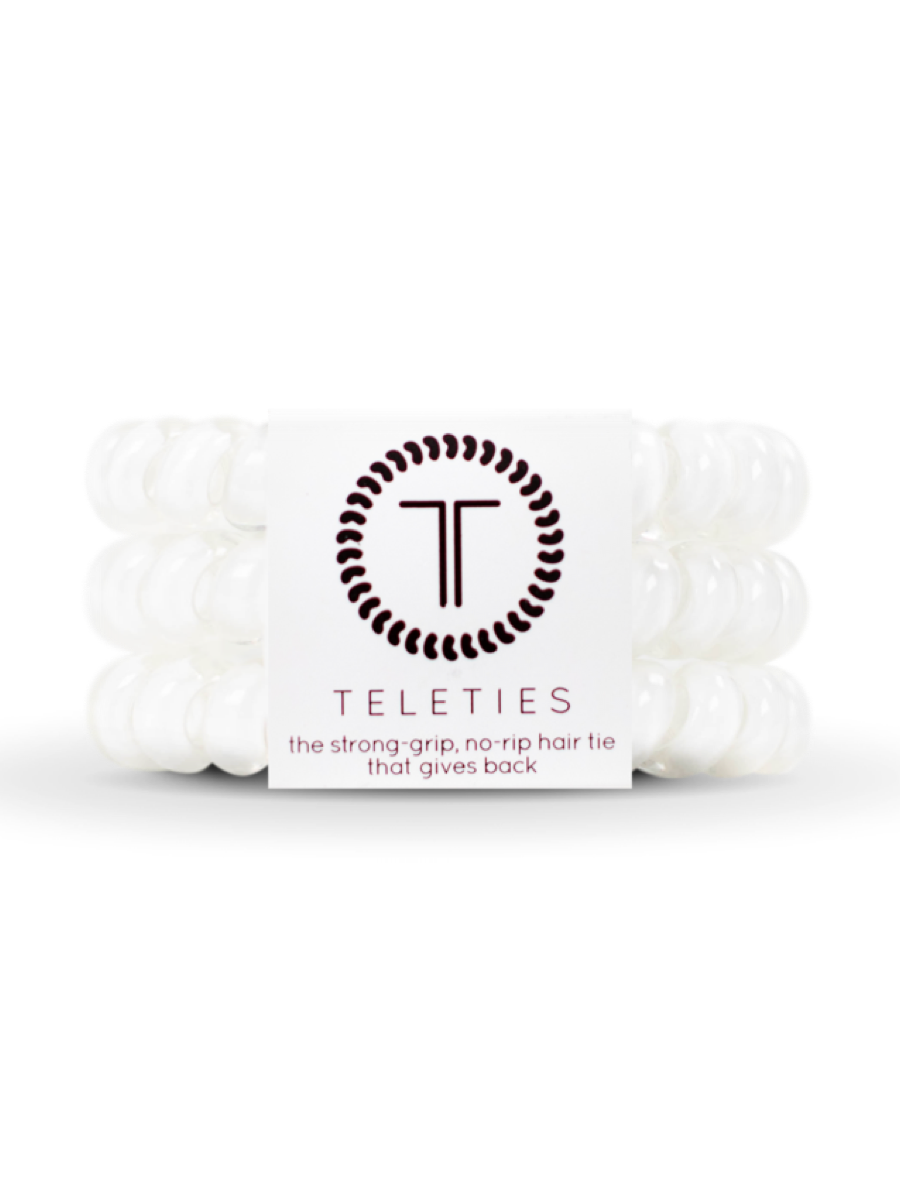 Teleties Large Hair Ties 3 pack Coconut White