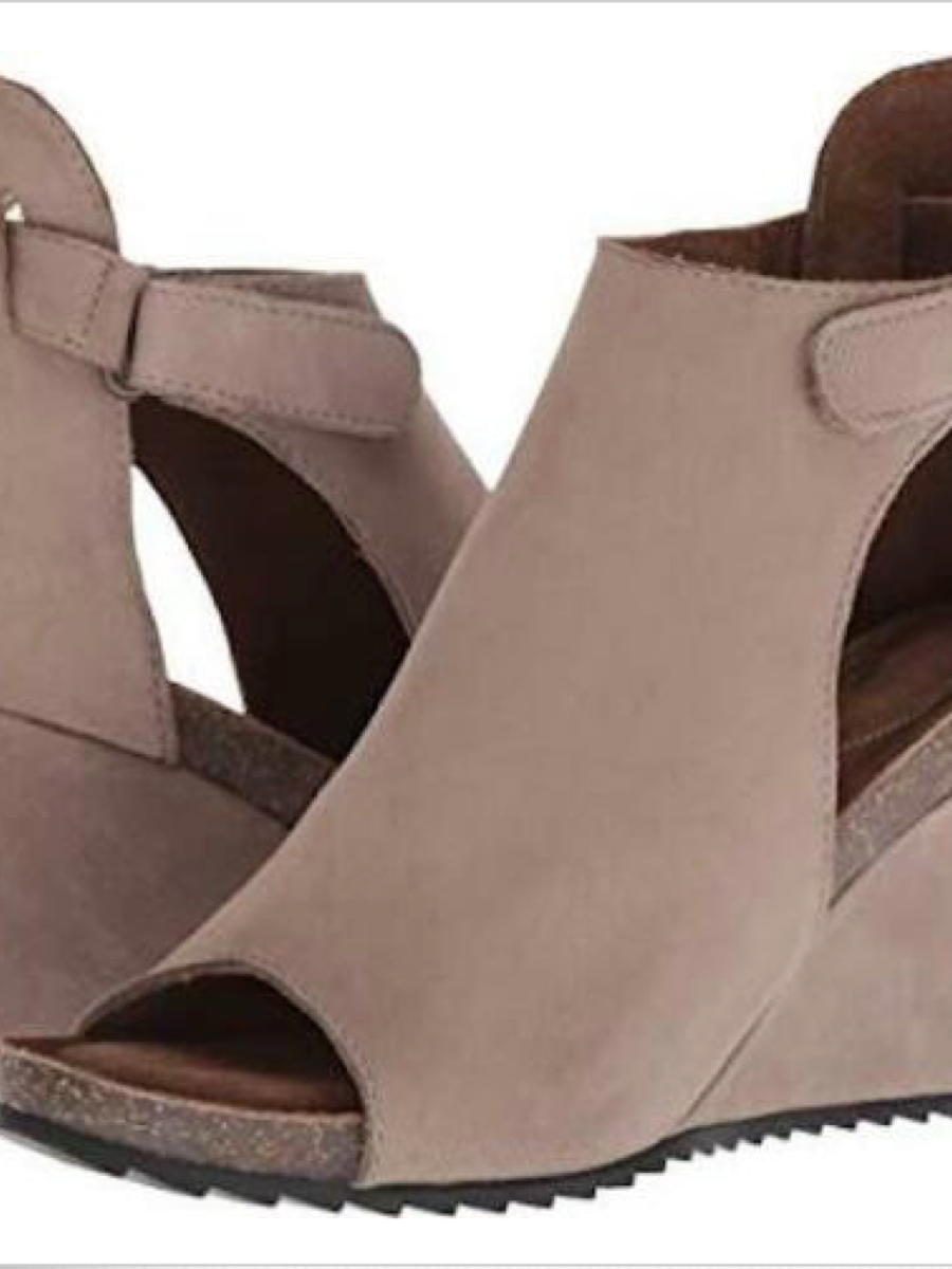 Diba True New Year Peep Toe Cutout Wedge Taupe