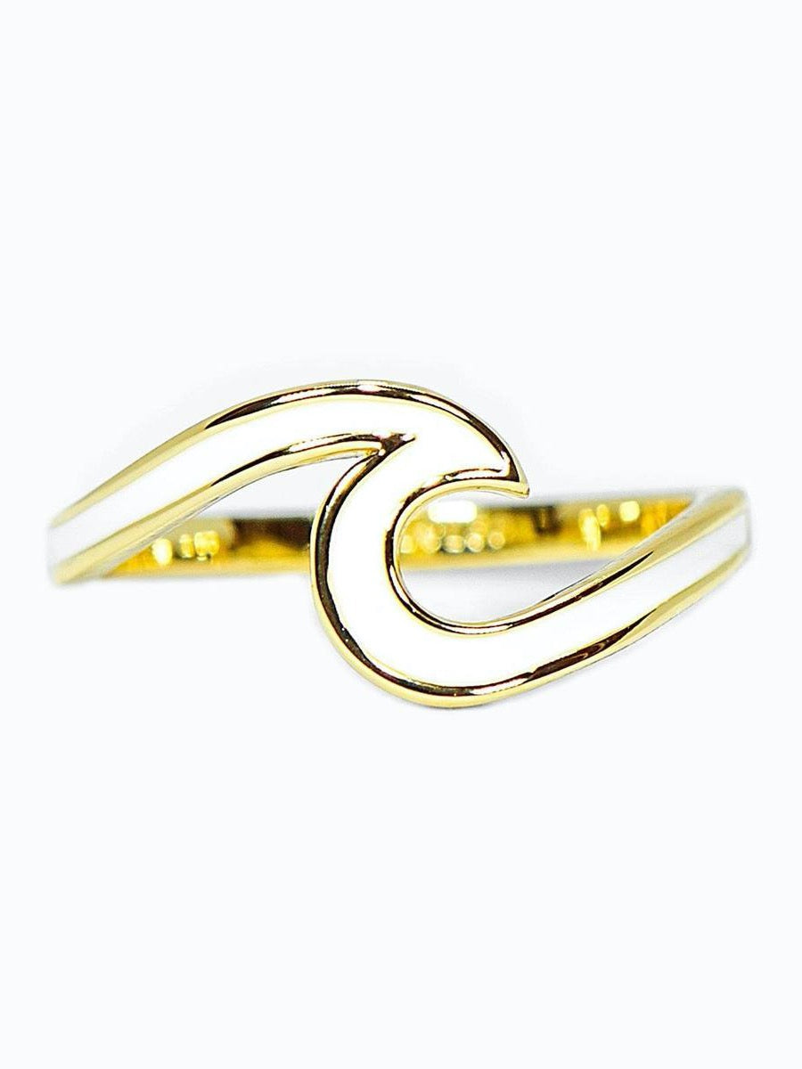Pura Vida Enameled Wave Ring White/Gold