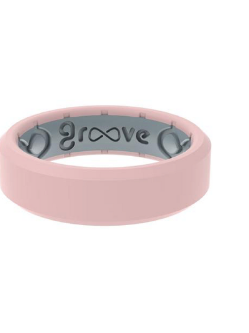 Groove Women's Edge Thin Ring--Rose Quartz