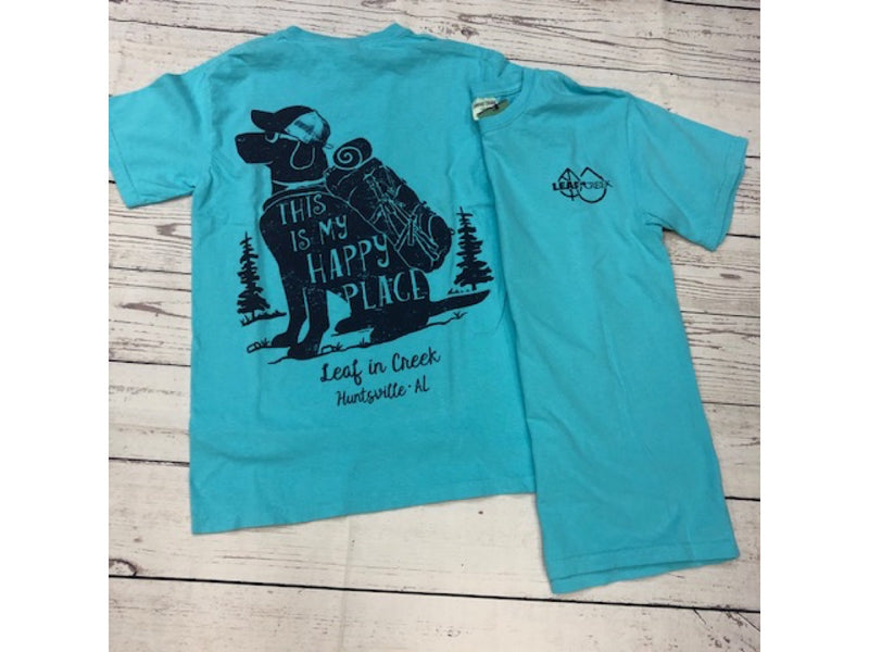 LIC Happy Hiking Dog Comfort Color Tee Lagoon