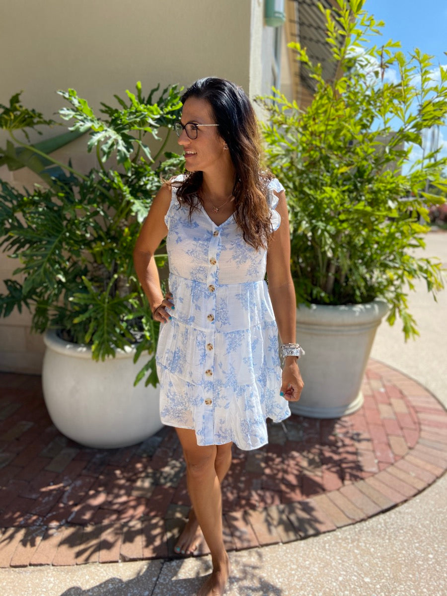 V- Neck Flutter Sleeve Button Down Mini Dress