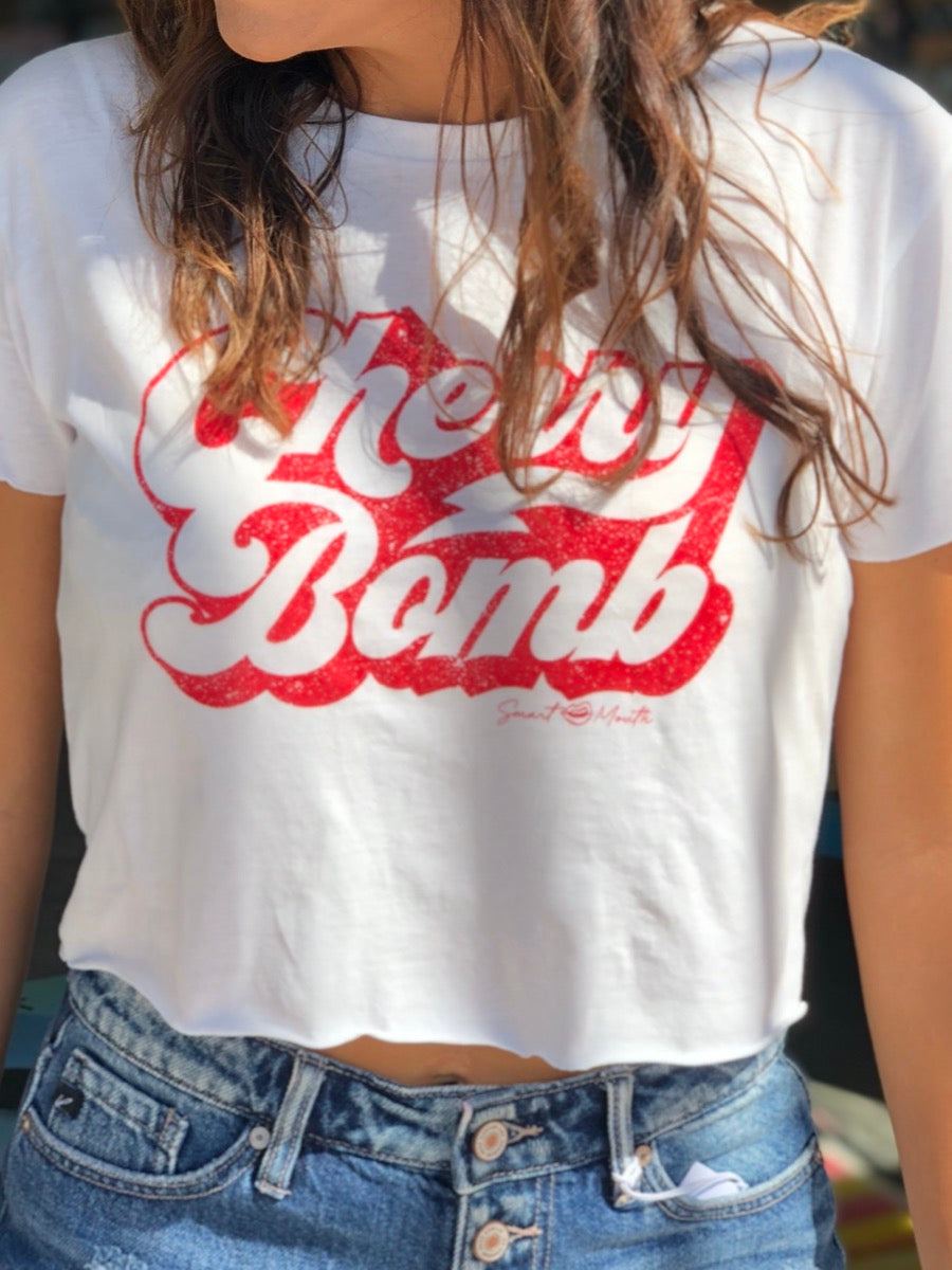 Cherry Bomb Crop Tee White
