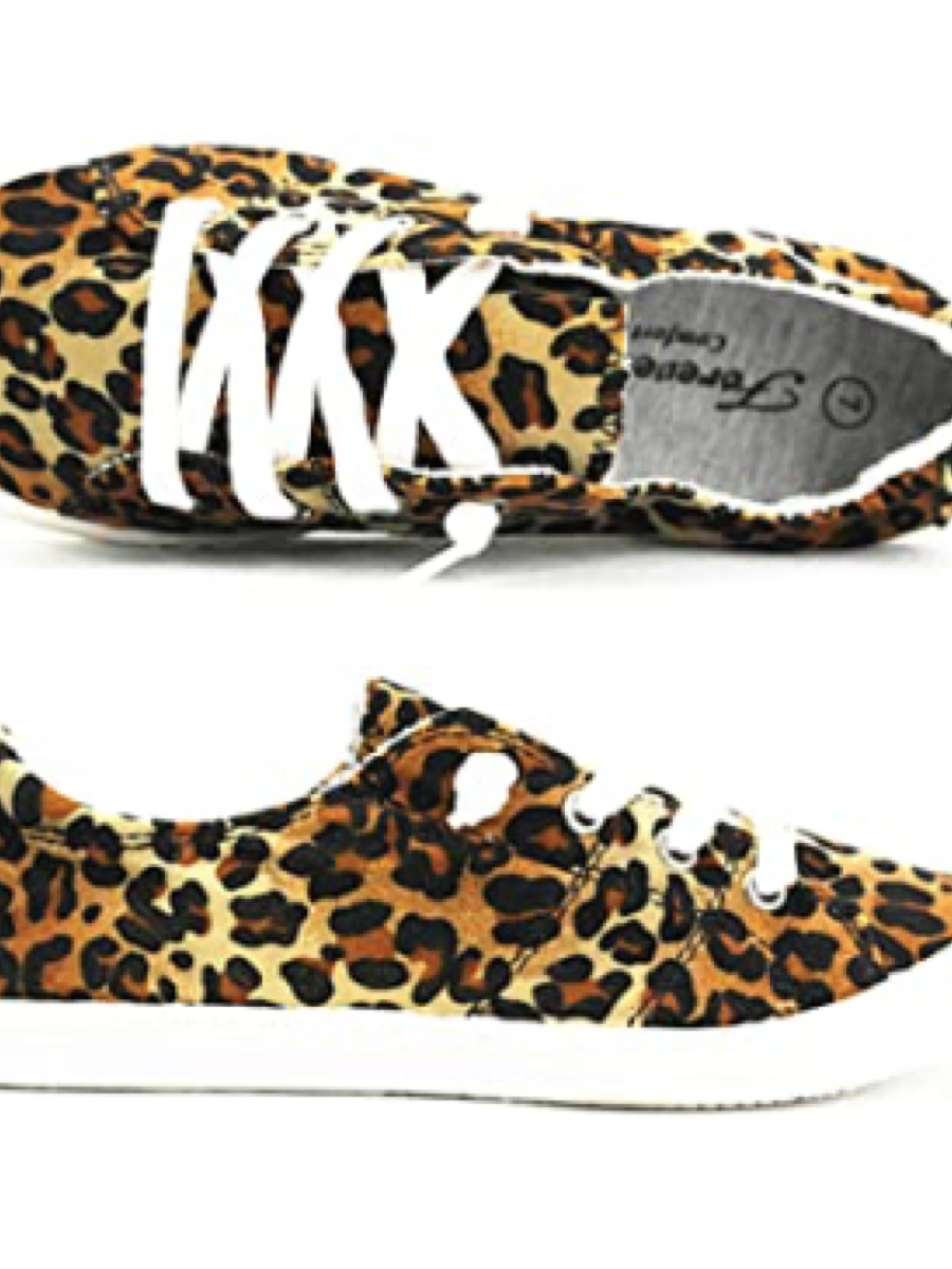 Lace Up Comfy Shoes Velvet Leopard
