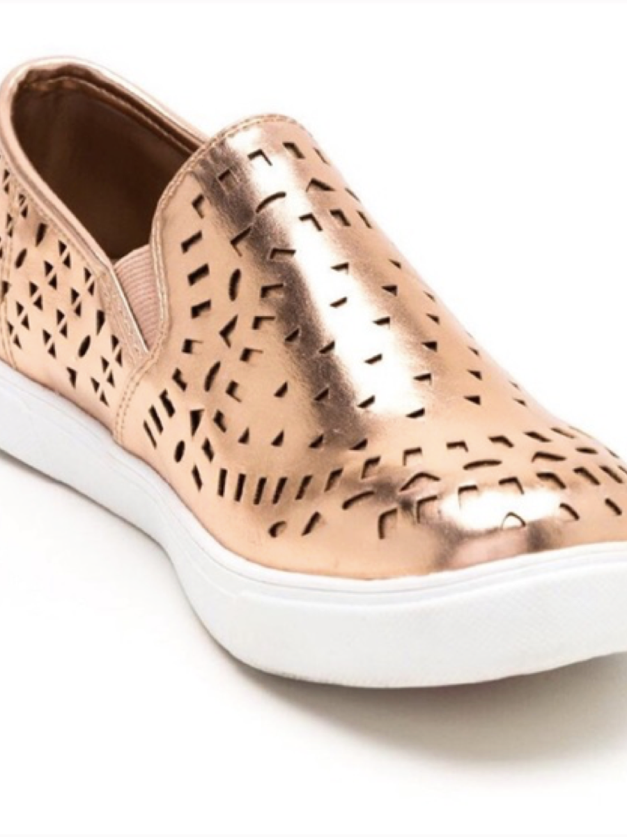 Sugar Greatness Metallic  Sneaker Cutout Rose Gold