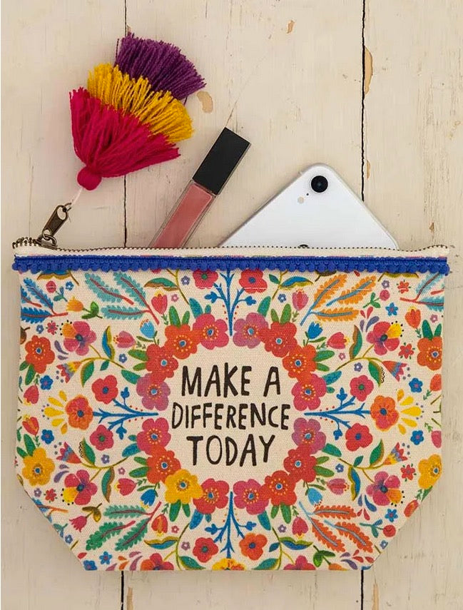 Natural Life Make A Difference Canvas Pouch