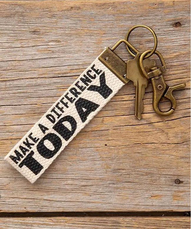 Natural Life Make A Difference Canvas Key Fob