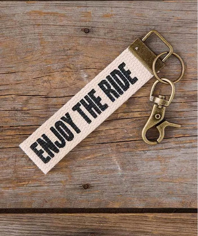 Natural Life Canvas Key Fob Enjoy the Ride