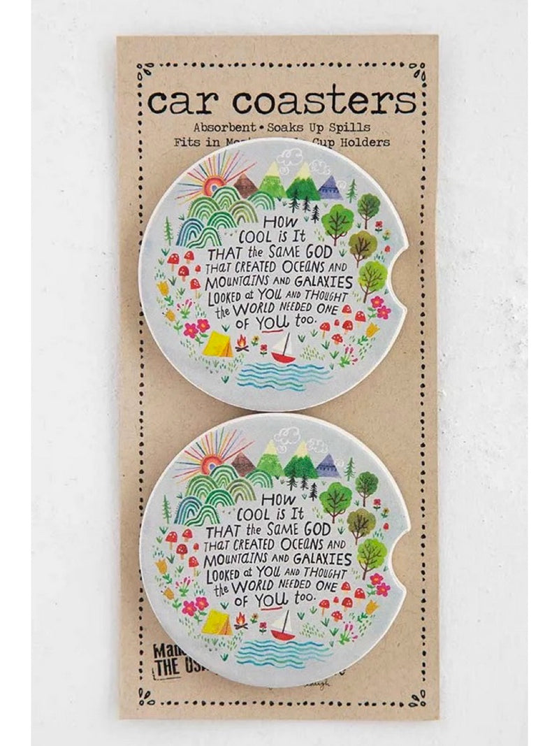 Natural Life How Cool Is God Set of 2 Car Coasters