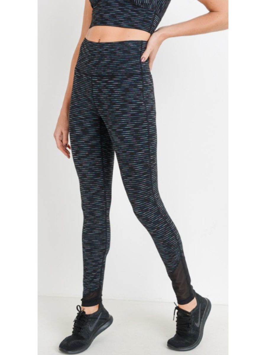 Highwaist Nebula Stripe Mesh Wrap Legging