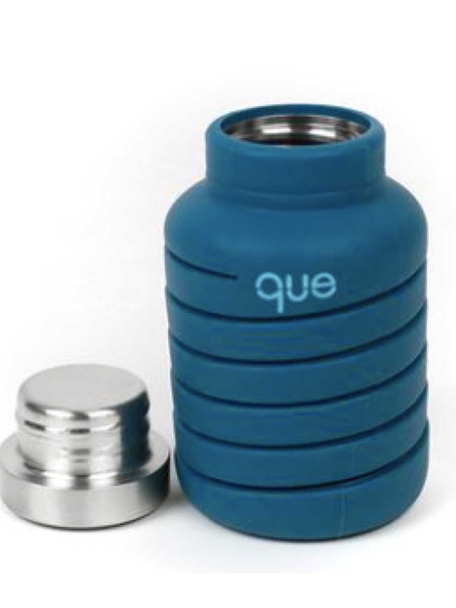 Que 20oz Water Bottle Steel Blue
