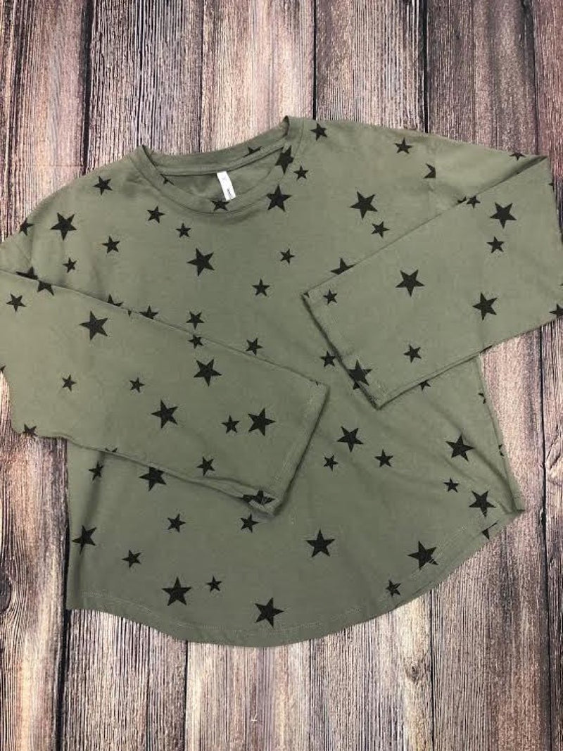 Raw Cut Long Sleeve Star T-Shirt