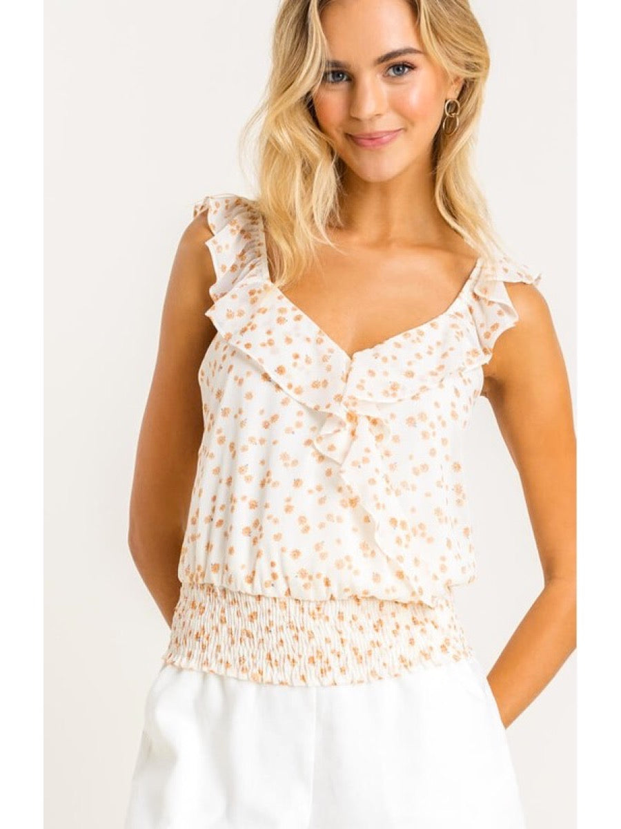 Printed Ruffle Floral Top Cream Daisy