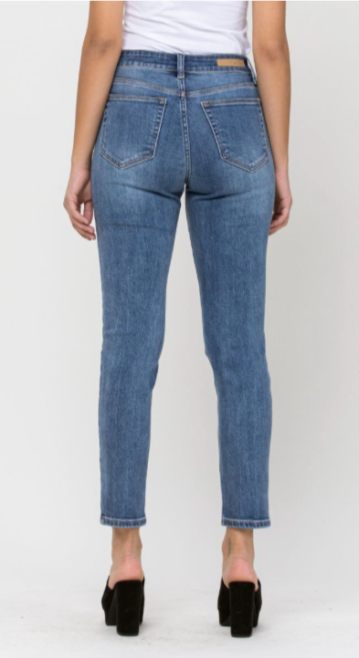 High Rise Destroy Slim Straight Jean