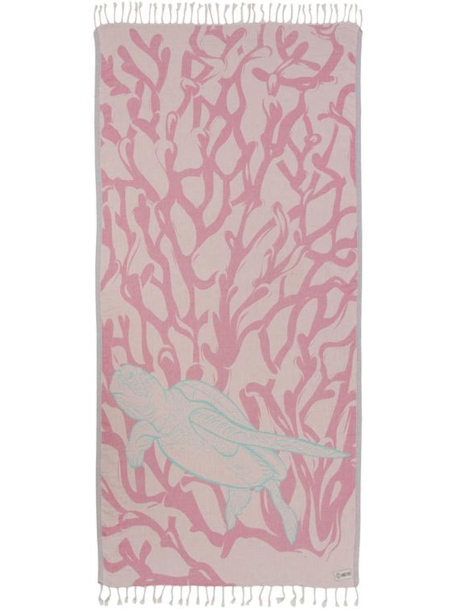 Sand Cloud Blush Coral Reef Turtle Towel