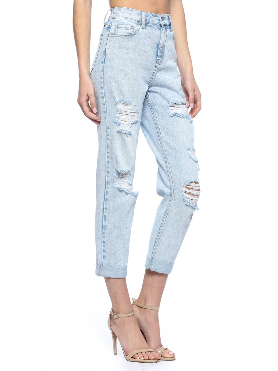 High Rise Double Rolled Distress Mom Crop Skinny