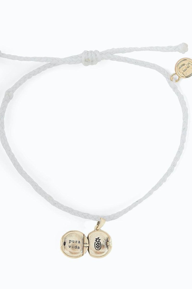 Pura Vida Wave Locket Bracelet Gold WHITE