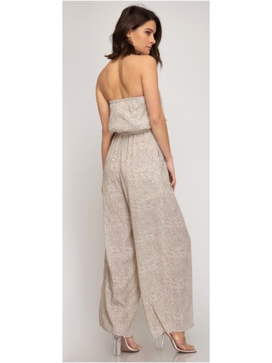 Woven Tube Top Wide Leg Jumpsuit Lt. Taupe