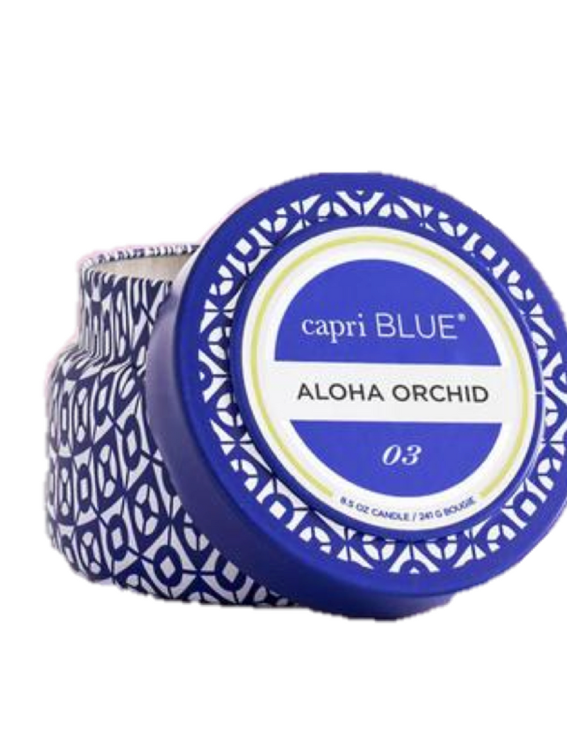 Capri Blue Aloha Orchid Signature Printed Travel Tin Candle