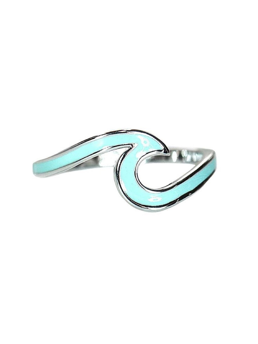 Pura Vida Enameled Wave Ring Teal/Silver