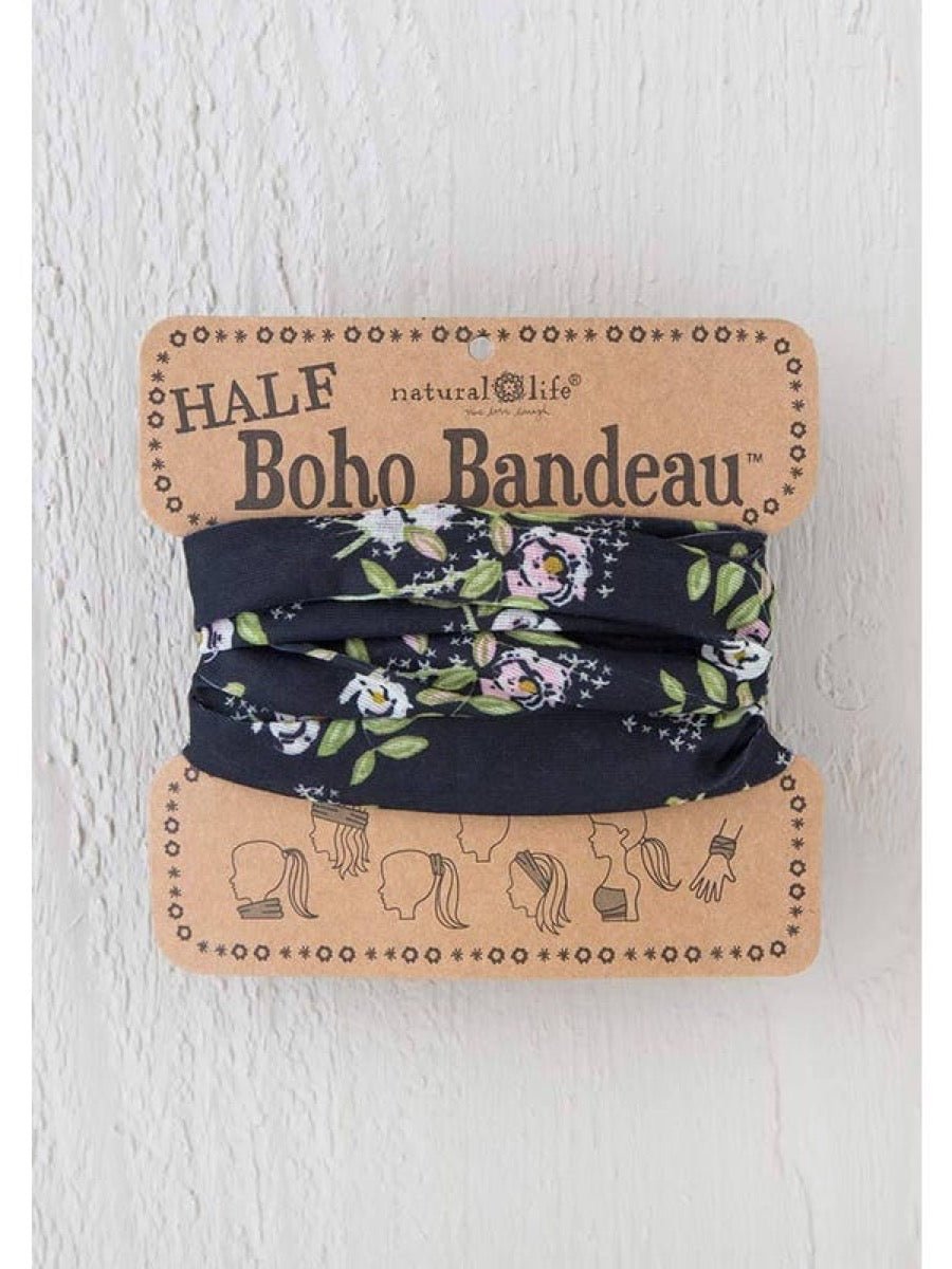 Natural Life Half Boho Bandeau Black Cream Pink Blooms