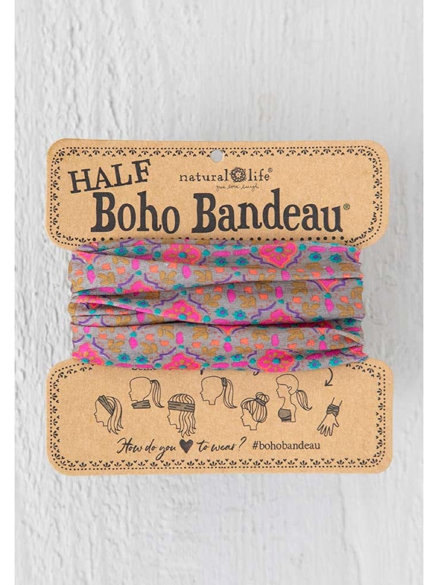 Natural Life Half Boho Bandeau Grey Pink Stamp