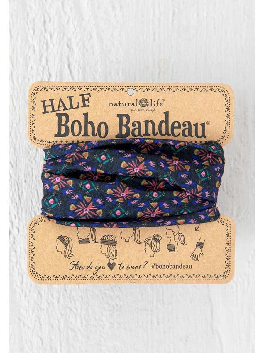 Natural Life Half Boho Bandeau Black Multi Burst