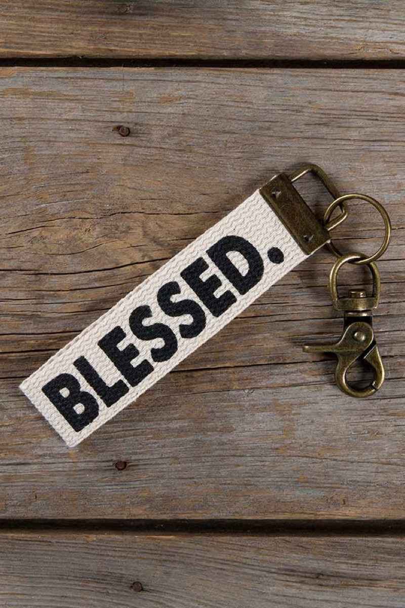 Natural Life Canvas Key Fob Blessed