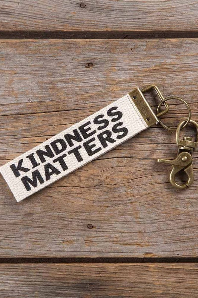 Natural Life Canvas Key Fob Kindness Matters