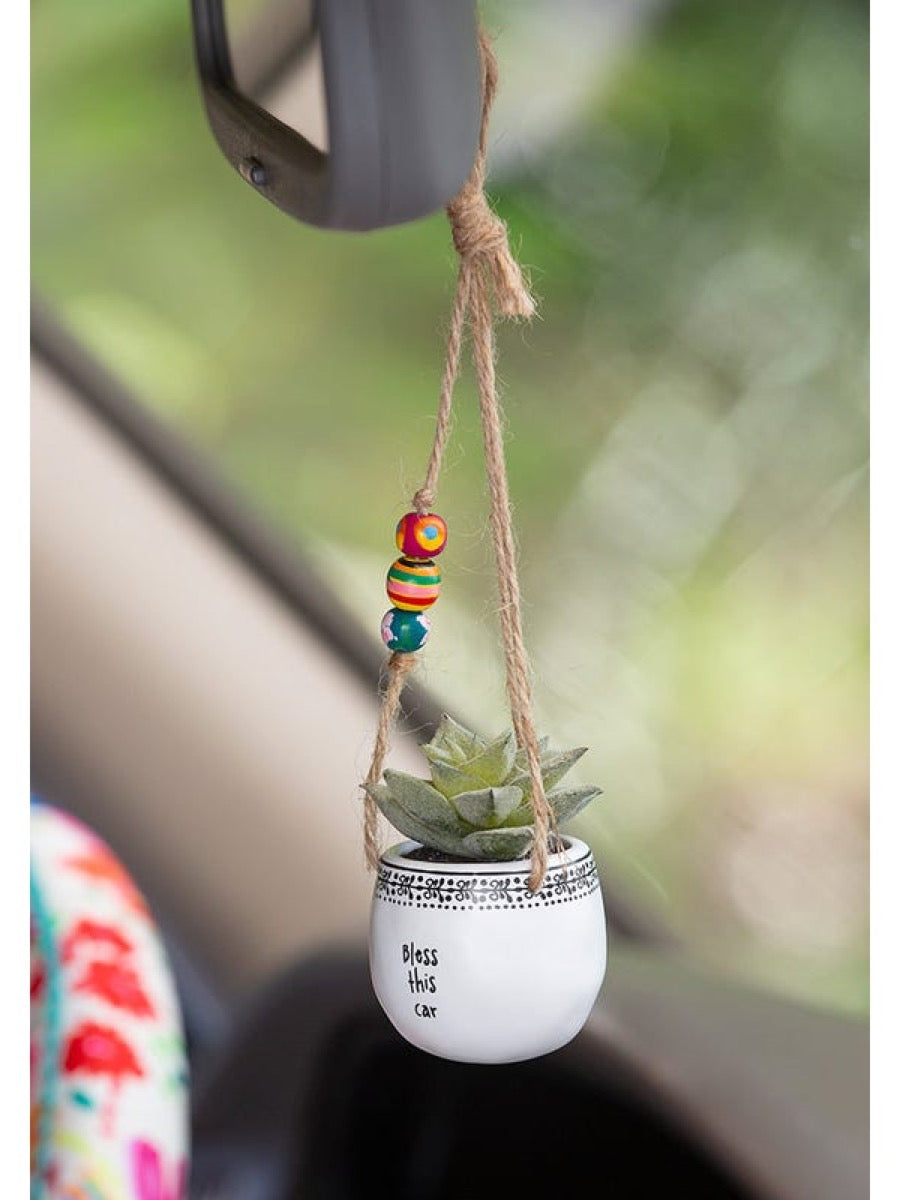 Natural Life Mini Hanging Faux Succulents Bless This Car