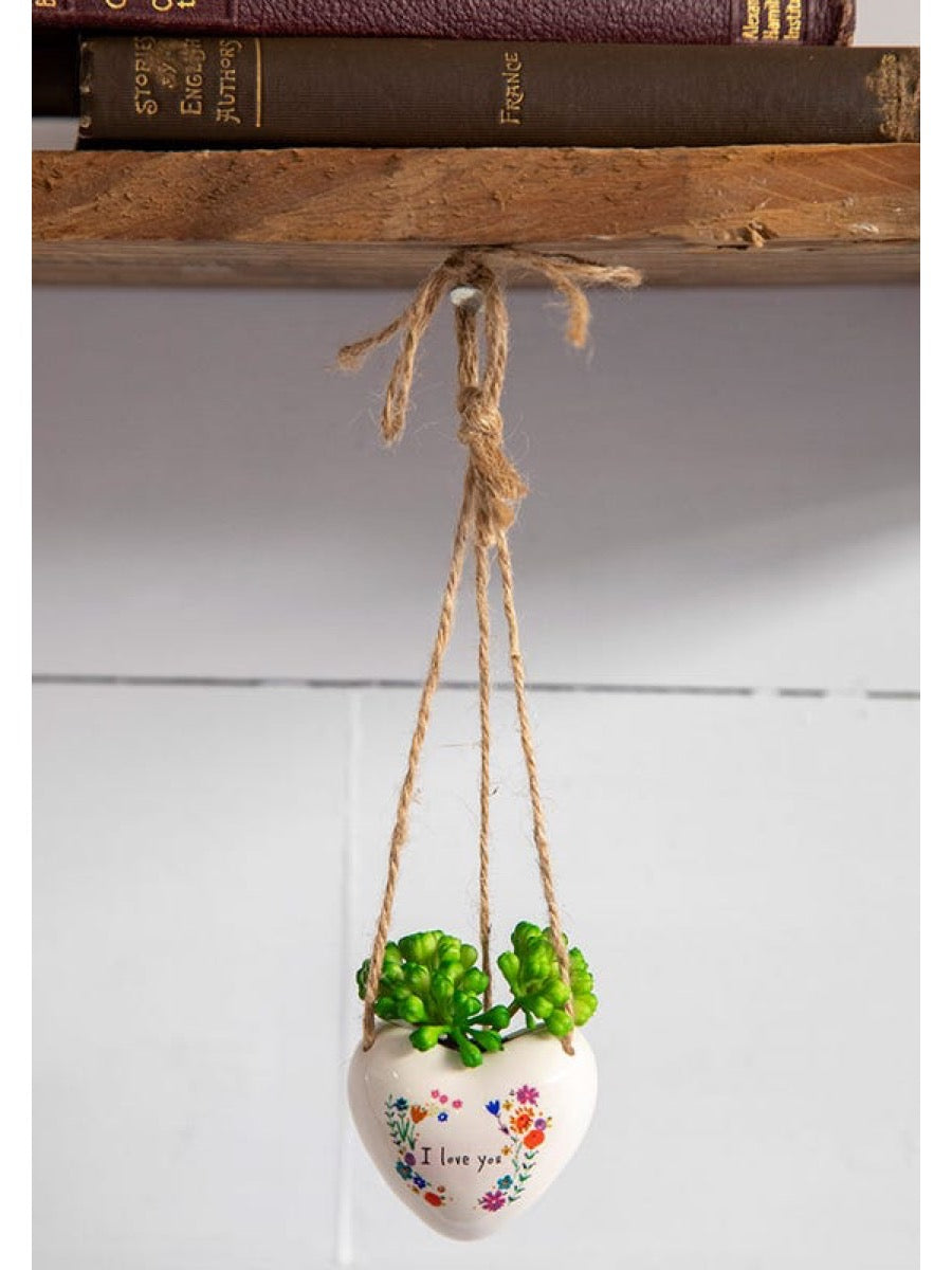 Natural Life Mini Hanging Faux Succulents Love