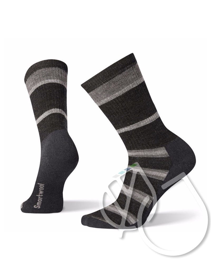 Smartwool Hike Medium Striped Crew -L Charcoal