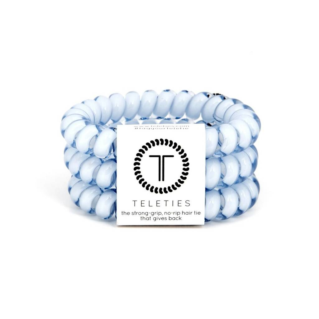 Teleties Large Hair Ties 3 pack Washed Denim