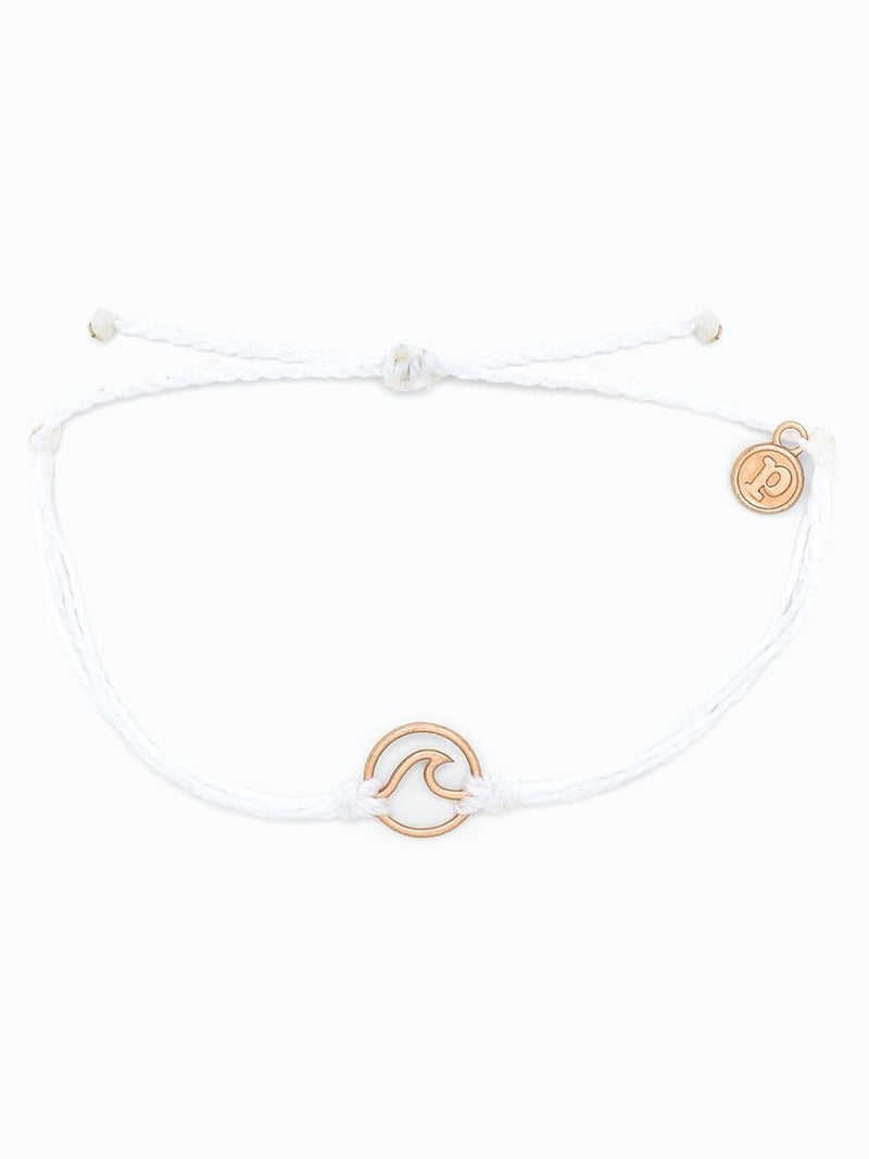 Pura Vida Wave Bracelet Rose Gold  White
