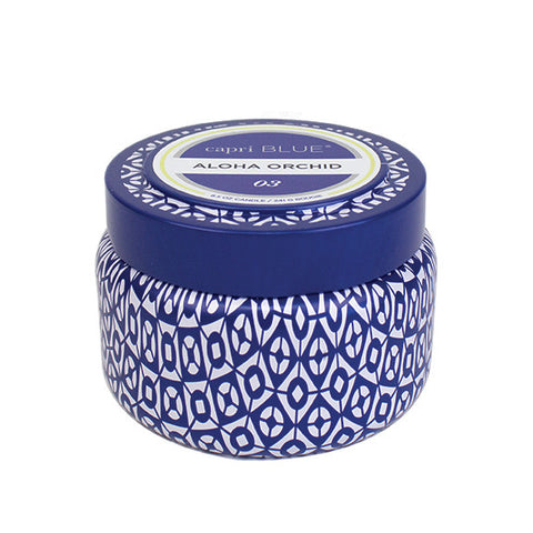 capri BLUE Signature Printed Tin Candle - Aloha Orchid