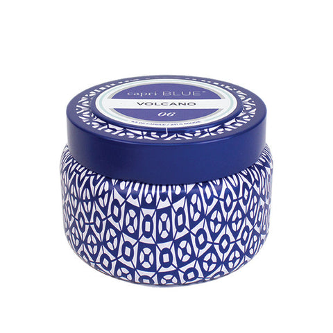 capri BLUE Printed Tin Candle - Volcano