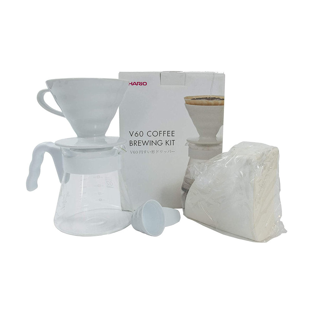 Hario V60 Pour Over Set with Ceramic Dripper, Size 02, White