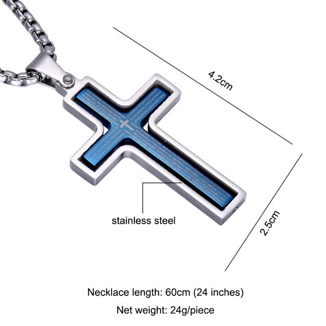 Religion Bible Rotatable Cross Necklace