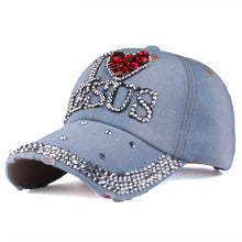 Load image into Gallery viewer, I love Jesus Rhinestone Denim Cap