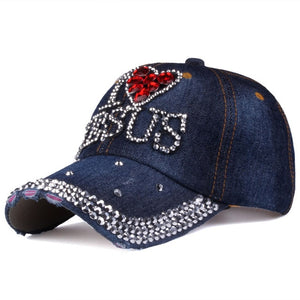 I love Jesus Rhinestone Denim Cap