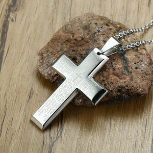 Stainless Steel Prayer Cross Necklace