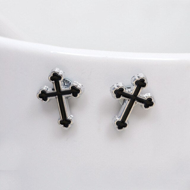 Jesus Christ Cross Magnet Earring Small Ear Studs