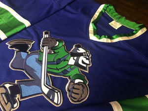 Custom hockey jerseys with the Skating Johnny logo