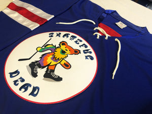 Custom hockey jersey with the Skateful Dead team logo.