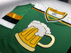 Custom Hockey Jerseys with Beer Mug Crest $59