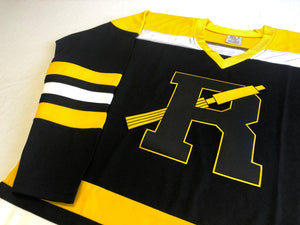 "Custom hockey jersey with ""R"" embroidered twill team logo"